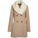 Tally Weijl Beige Double Breasted Coat with Shearling Collar