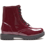 Tally Weijl Burgundy Glossy Lace Up Ankle Boots