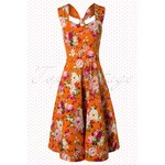 Whispering Ivy TopVintage exclusive ~ 50s Floral Summer Dress in Orange