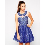 Chi Chi London Isla Lace Skater Dress - Blue