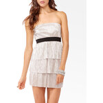 FOREVER21 Tiered Metallic Tube Dress