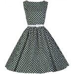 AUDREY zelené puntíkaté šaty ve stylu padesátých let