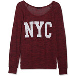 """Tally Weijl Burgundy Knitted """"NYC"""" Long Sleeve Top"""