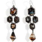 Alexis Bittar Moonlight Pavo Chandelier Earrings with Custom Banded Agate