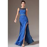 MiaBella Zářivě modré elegantní šaty Barva: jako na obrázku, Velikost: XS = konfekční velikost 34