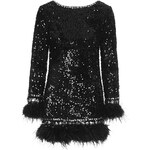 Topshop **Sequin and Feather Trim Shift Dress by Opulence