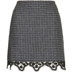Topshop Tweed Lace Hem Mini Skirt