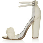 Topshop RABBIT Faux Fur Fluffy Sandals