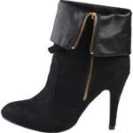 Luxusní semišové černé kozačky Ana Lublin - Saga - s jehlovým podpatkem - Velikost 36