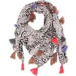 Černo-bílý velký šátek se střapci Pieces SAMANTHA
