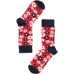 Unisex červené ponožky s barevnými kytičkami Happy Socks Flower