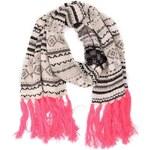 Barevná pletená šála s růžovými třásněmi ONLY Jessie