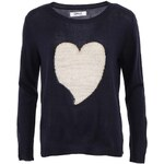 Tmavě modrý svetr se srdcem ONLY Glitter Heart