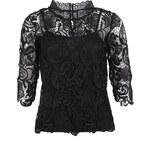 Černý elegantní krajkový top Vero Moda Pronenza