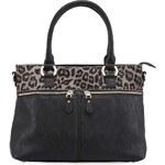 Černá kabelka s šedým leopardím lemem DSUK