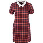 Červeno-modré kostkované šaty s límečkem Kling Colette