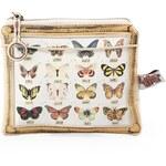 Béžová kosmetická taštička s motýlky Disaster