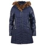 Tmavě modrý kabát s kožíškem Vero Moda Beat