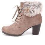 Béžové kožené boty s kožíškem Tamaris