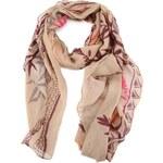 Dlouhý béžový šátek s barevnými lístky Passigatti