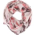 Růžovo-krémový dutý šátek s hadím potiskem Passigatti
