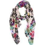 Dlouhý šátek s černo-barevnými květinami Passigatti