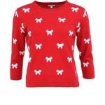 Červený dámský svetr s bílými mašlemi Kling Ribbons