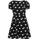 Černé retro šaty s bílými srdíčky Kling Adrienne