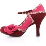 Růžovo-vínové lodičky s květinou Ruby Shoo Sophie