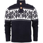 Tmavě modrý svetr s nordickým vzorem !Solid Jamel