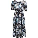 Tmavě modré delší květované šaty Closet