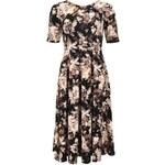 Hnědé delší květované šaty Closet