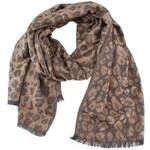 Hnědý šátek s leopardím vzorem INVUU London
