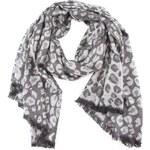 Šedý šátek s leopardím vzorem INVUU London