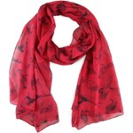 Malinově červený šátek s potiskem ptáků Tom Joule Wensley