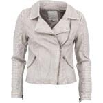 Světle šedá kratší koženková bunda YAYA