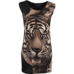 Šaty s tygrem a vycpanými rameny Pussycat London
