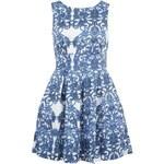 Bílo-modré šaty s průstřihem na zádech Closet