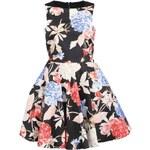 Černé šaty s barevnými květy Closet