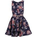 Tmavě modré květinové šaty s páskem Closet