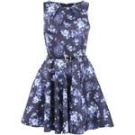Tmavě modré květované šaty s páskem Closet