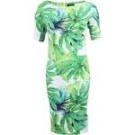 Zeleno-bílé tropické šaty AX Paris