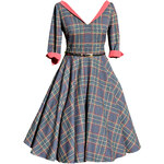 MiaBella LOREN retro šaty s rukávem kostkované Barva: Barva jako na obrázku, Velikost: 38
