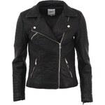 Černá koženková bunda ONLY Fly