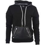 Černá dámská mikina s koženkovou kapsou a kapucí Voi Jeans Lady Priory