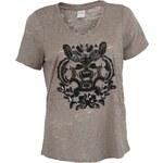 Béžové dámské tričko se zdobeným potiskem JUNAROSE Bay