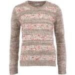 Béžový pletený svetr s barevnými detaily Lavand