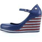 Modré plastové boty na klínku s páskem Mel Popstar