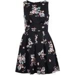 Květované černé šaty s průstřihem na zádech Closet