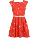 Červené šaty Trollied Dolly s papoušky